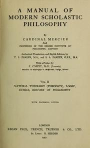 Cover of: A manual of modern scholastic philosophy | Mercier, DesiЕ•e Cardinal