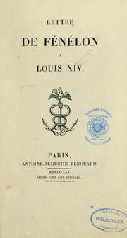 Cover of: Lettre de Fénelon à Louis XIV