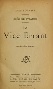Cover of: Le vice errant