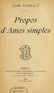 Cover of: Propos d'âmes simples