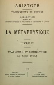 Cover of: La métaphysique d'Aristote ..