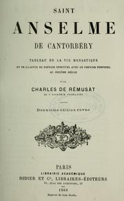 Cover of: Saint Anselme de Cantorbéry