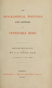 Cover of: The biographical writings and letters of Venerable Bede