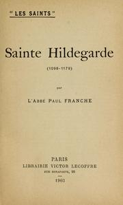 Cover of: Sainte Hildegarde (1098-1179)