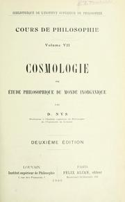 Cover of: Cosmologie by Nys, Désiré, 1859-1927