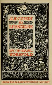 Cover of: Judgment in literature