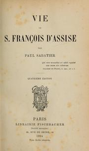 Cover of: Vie de S. François d'Assise