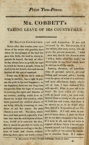Cover of: Mr. Cobbett's taking leave of his countrymen