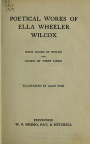 Cover of: Poems of Ella Wheeler Wilcox