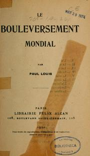 Cover of: Le bouleversement mondial