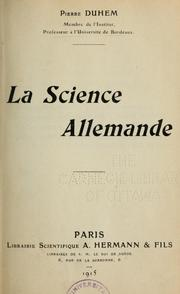 Cover of: La science allemende