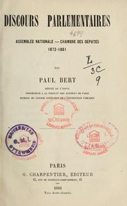 Cover of: Discours parlementaires