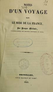 Cover of: Notes d'un voyage dans le Midi de la France