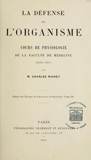Cover of: La défense de l'organisme