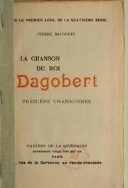 Cover of: La Chanson du roi Dagobert