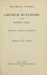 Cover of: Historical studies of church-building in the middle ages