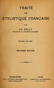 Cover of: Traité de stylistique française by Charles Bally