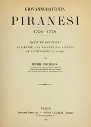 Cover of: Giovanni-Battista Piranesi, 1720-1778