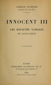Cover of: Innocent III ...