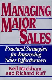 Cover of: Managing major sales