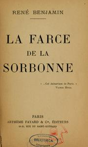 Cover of: La farce de la Sorbonne. --