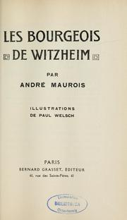 Cover of: Les bourgeois de Witzheim