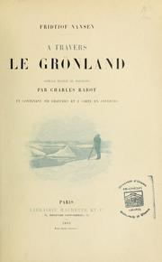 Cover of: A travers le Grönland