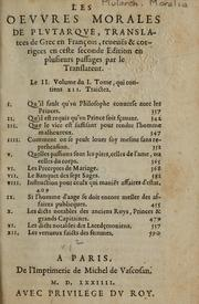 Cover of: Les Oeuvres morales et meslees