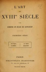 Cover of: L'art du XVIIIe siècle