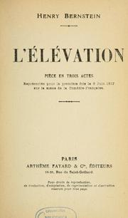 Cover of: L'élévation