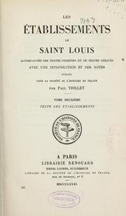 Cover of: Les établissements de Saint Louis