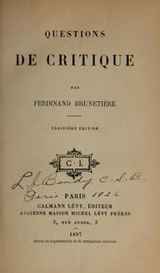 Cover of: Questions de critique