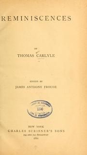 Cover of: Reminiscences | Thomas Carlyle