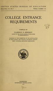 Cover of: College entrance requirements ... | Clarence D. Kingsley