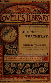Cover of: Life of Thackeray ..