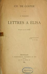 Cover of: Lettres à Élisa