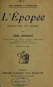 Cover of: L'épopée