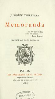 Cover of: Memoranda