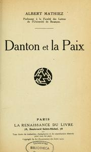 Cover of: Danton et la paix