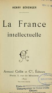 Cover of: La France intellectuelle