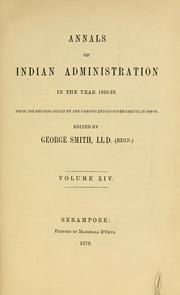 Annals of Indian administration in the year 1868-69