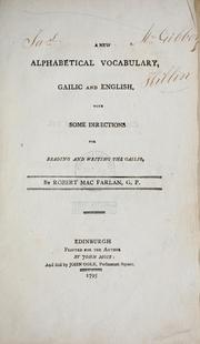 Cover of: A new alphabetical vocabulary, Gailic and English