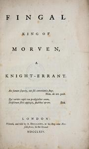 Cover of: Fingal King of Morven, a knight-errant.. |