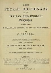 Cover of: A new pocket dictionary of the Italian and English languages | Giuspanio Graglia