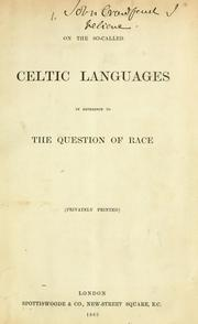 Cover of: On the so-called Celtic languages in reference to the question of race