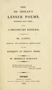 Cover of: Some of Ossian's lesser poems rendered into verse