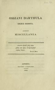 Cover of: Ossiani darthula graece reddita