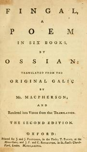 Cover of: Fingal, a poem in six books, by Ossian