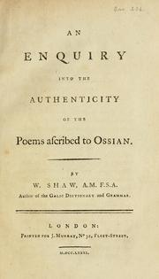 Cover of: An enquiry into the authenticity of the poems ascribed to Ossian