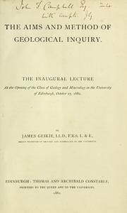 Cover of: The aims and method of geological inquiry